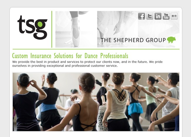 The Shepherd Group Landing Page for Dance Studios