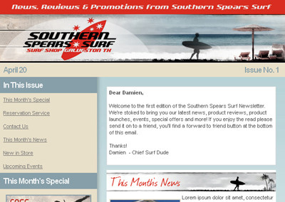 Southern Spears Surf Email Design