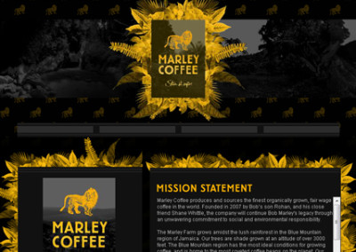 Marley Coffee Myspace Design