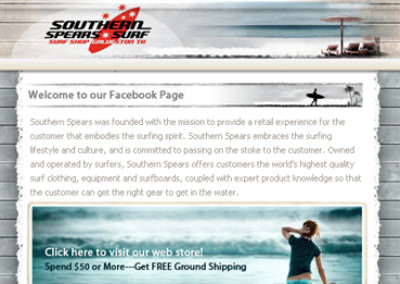 Southern Spears Surf Facebook Page Design